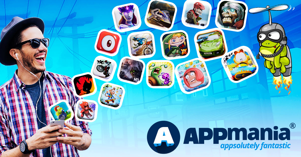 appmania banner showing a guy and mobile phone android